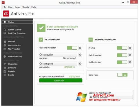 Screenshot Avira Antivirus Windows 7