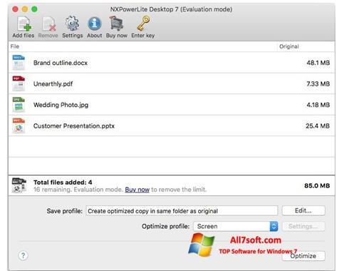Screenshot NXPowerLite Windows 7