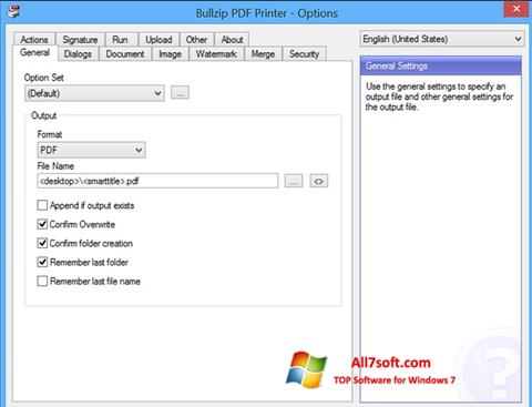 Screenshot BullZip PDF Printer Windows 7